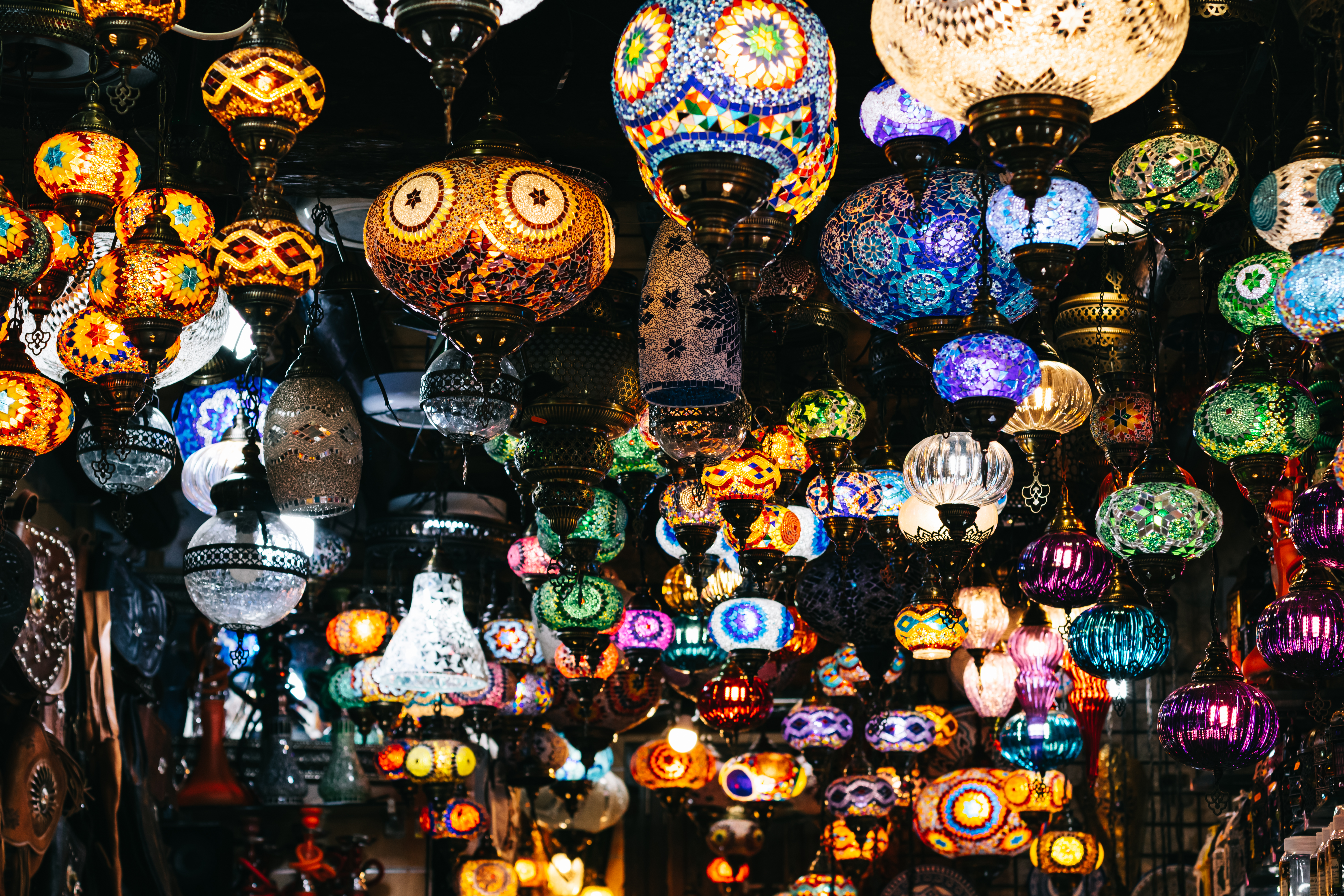 Moroccan or Turkish mosaic lamps and lanterns background; selective focus