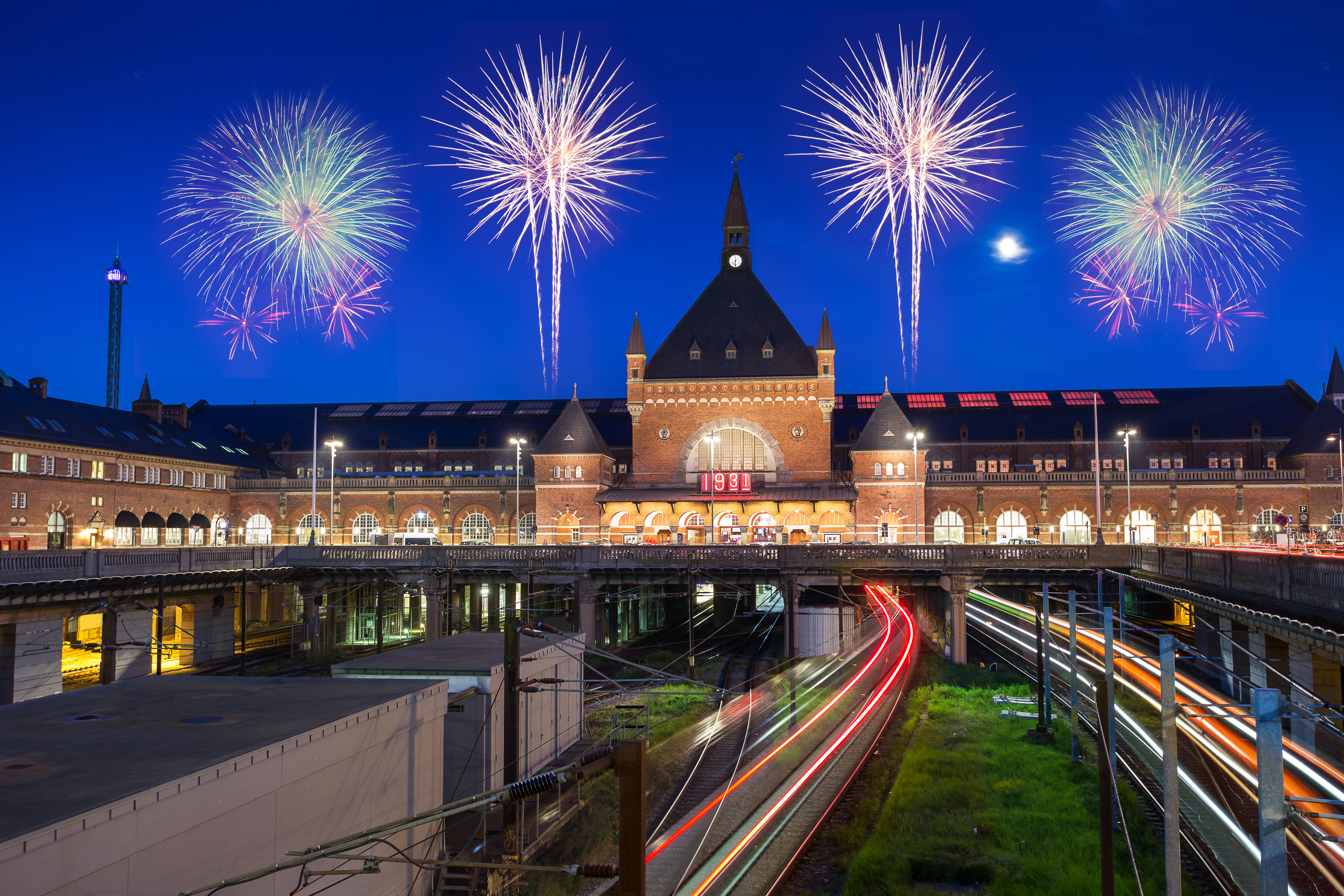 train run into Copenhagen central station in Denmark with clear