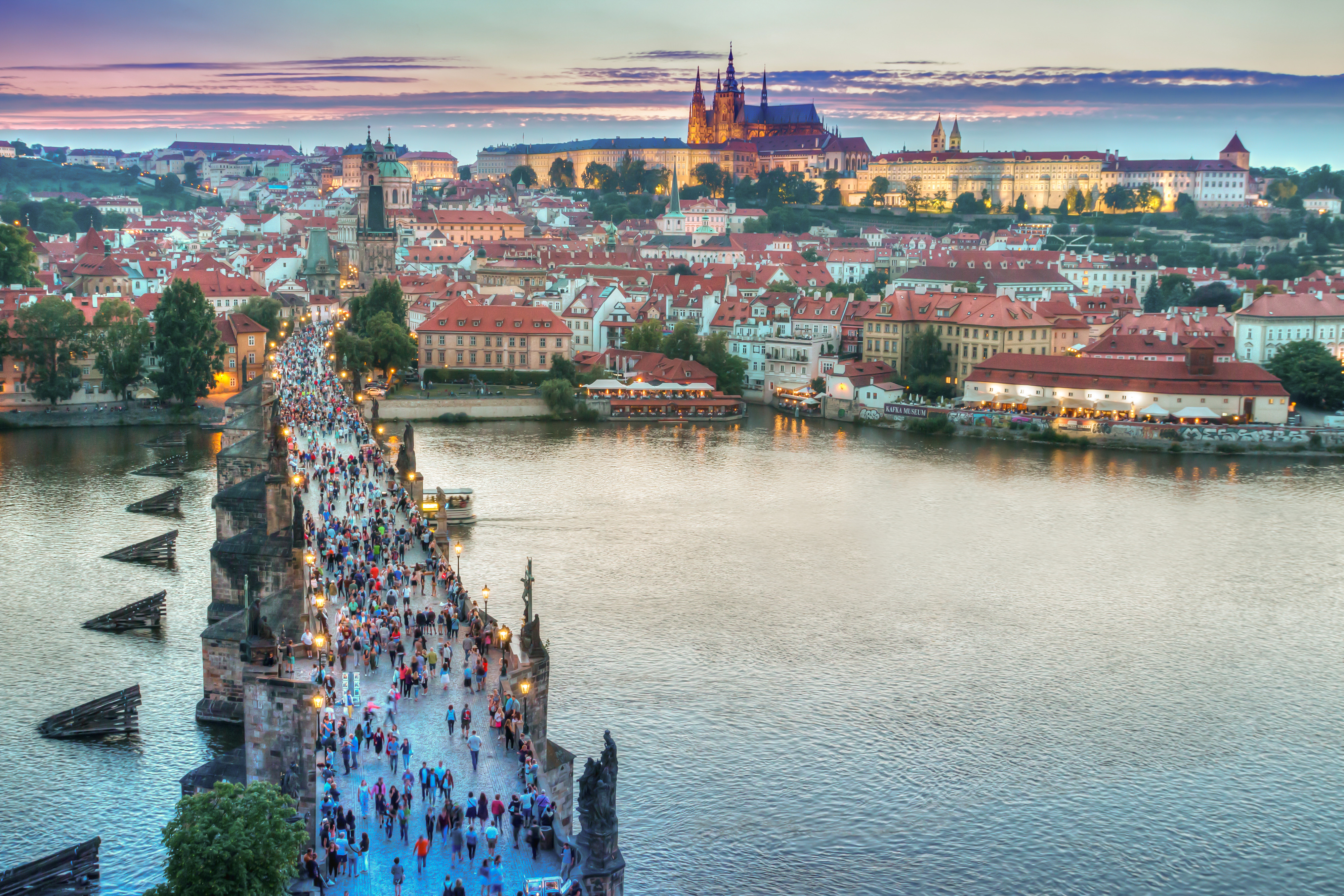 Evening in the historic center of Prague and view on the Charles