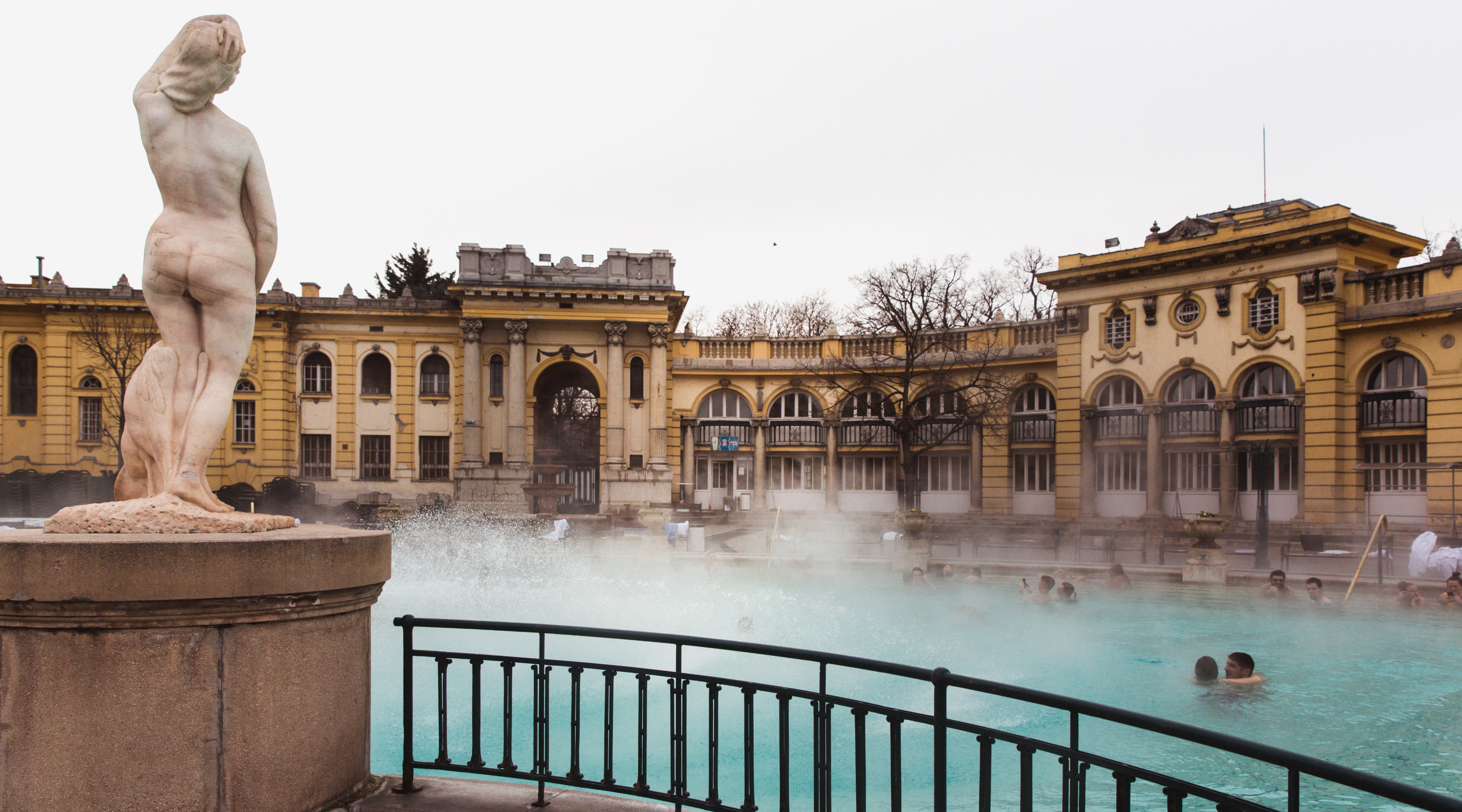 BUDAPEST, HUNGARY - January 24, 2019: The Szechenyi thermal bath, the largest medicinal bath in Europe
