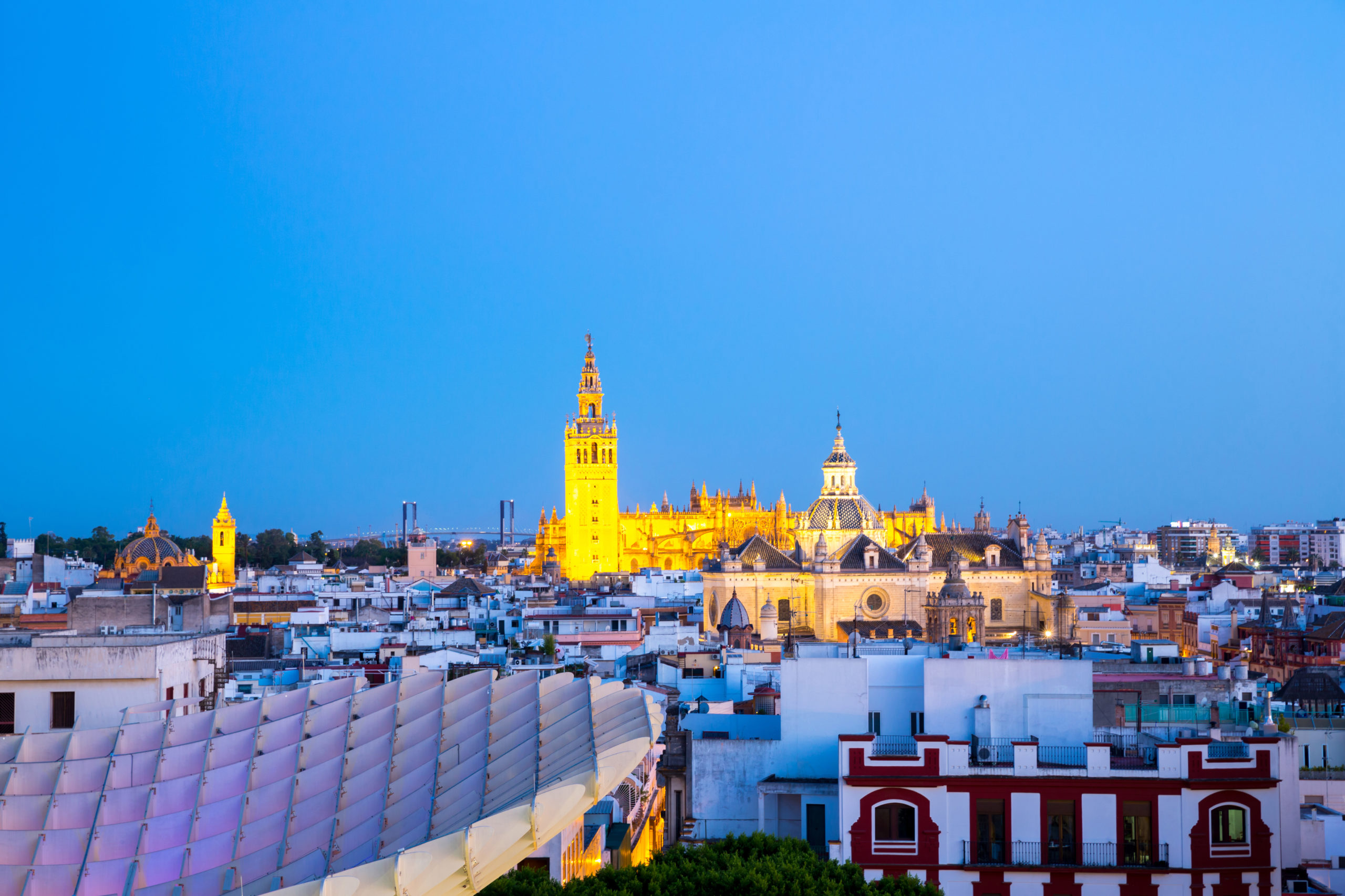 Seville Cathedral at dusk spain