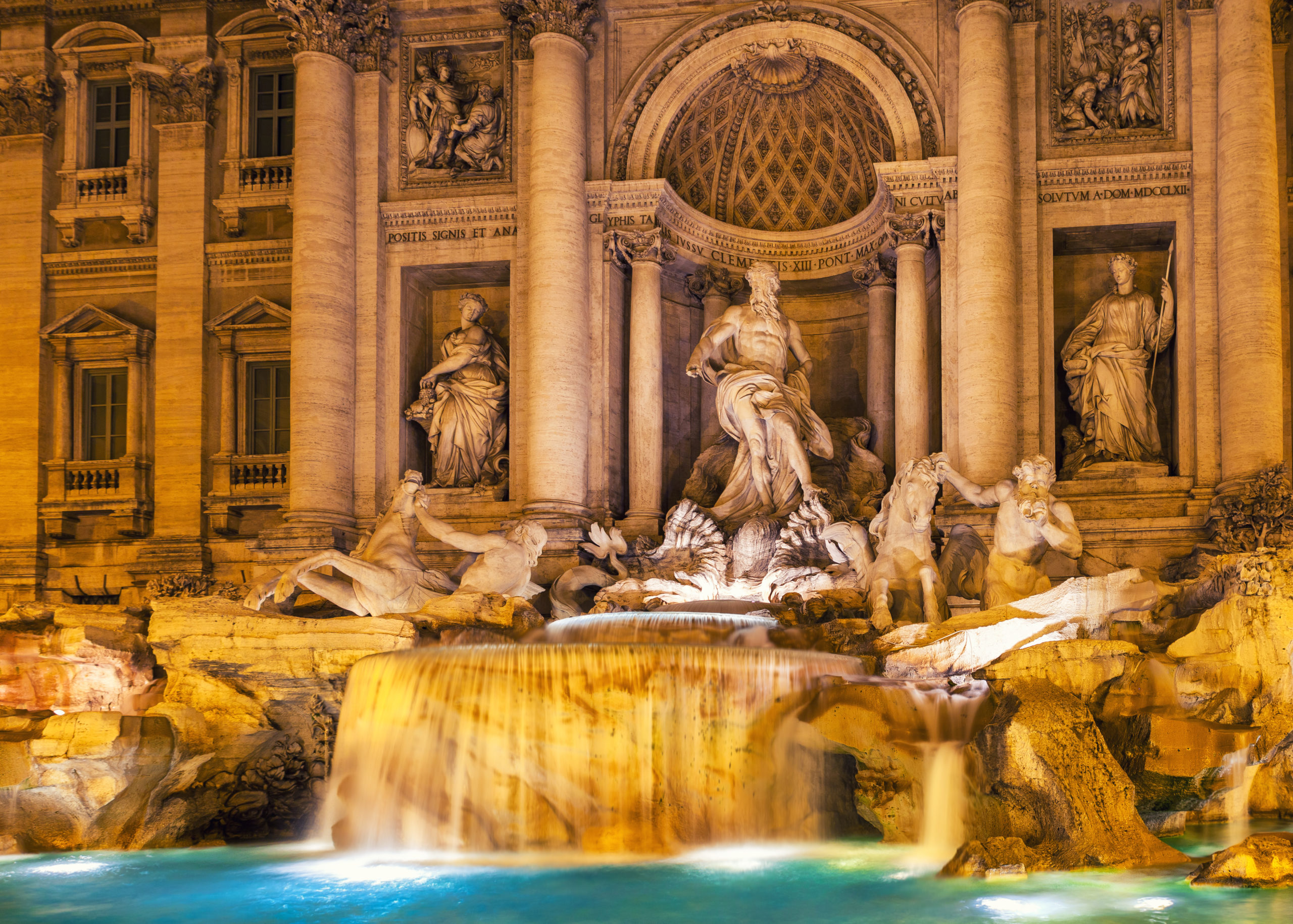 Trevi fountain at night Rome, Italy. Baroque architecture and sculpture.