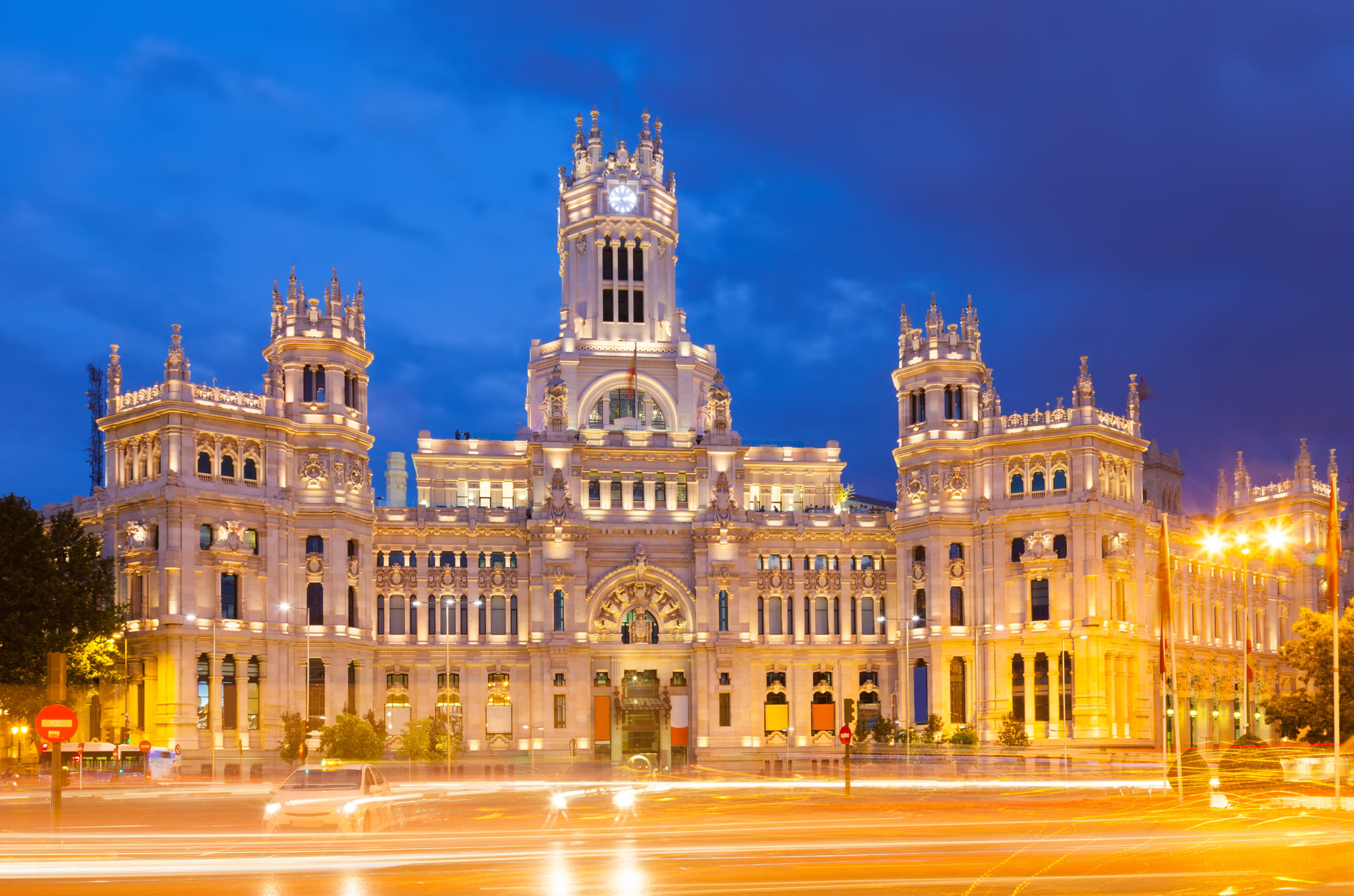View of Palacio de Cibeles in  evening. Madrid