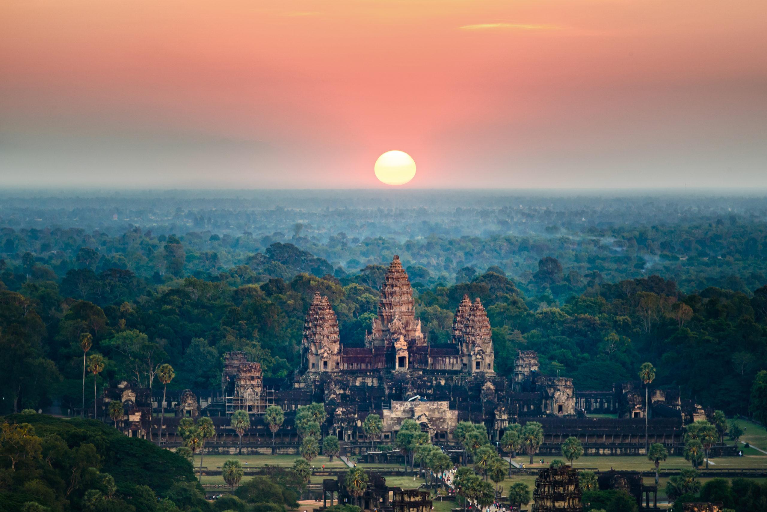 Beautiful aerial view  of Angkor Wat at sunrise , Siem Reap, Cambodia