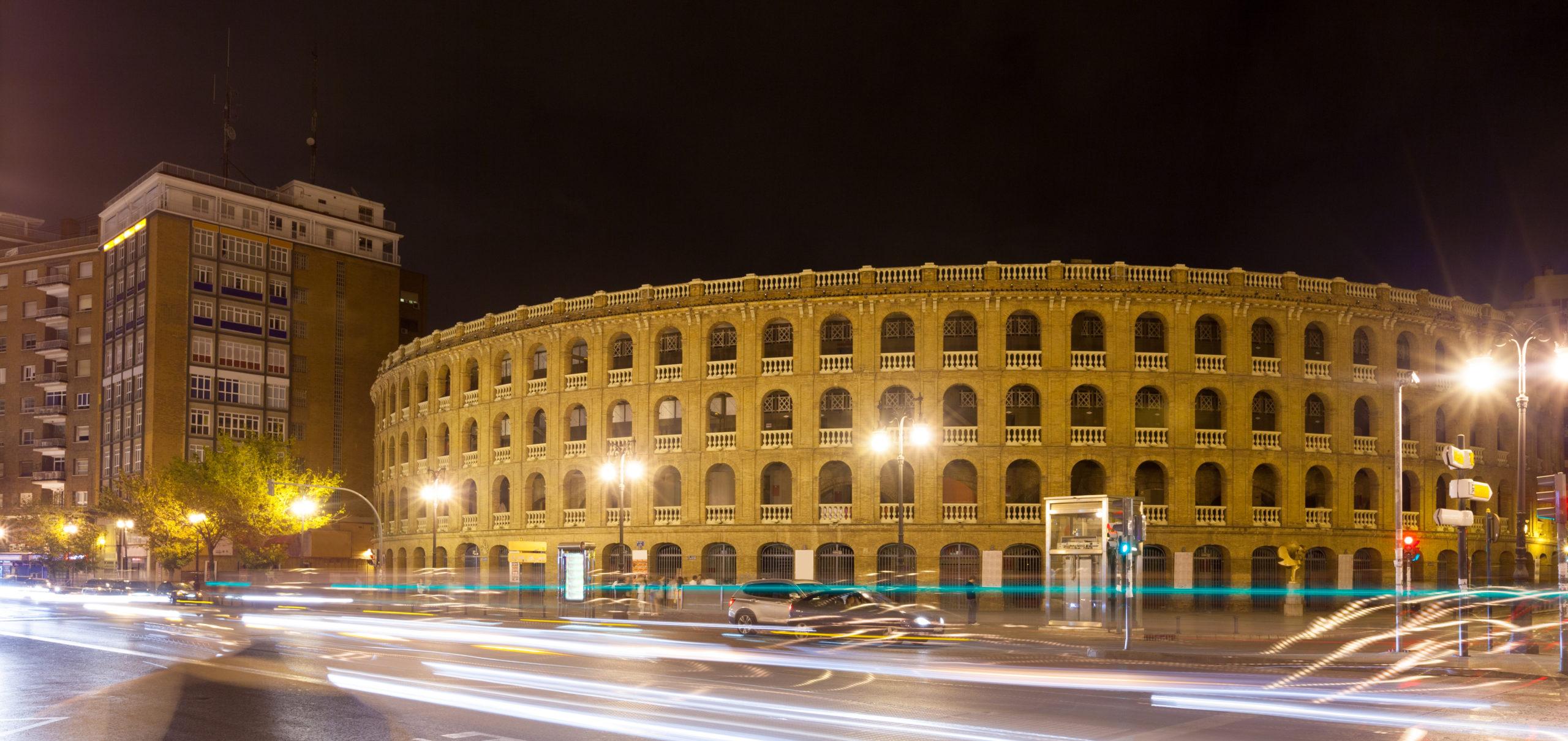 Plaza de toros in night time. Valencia