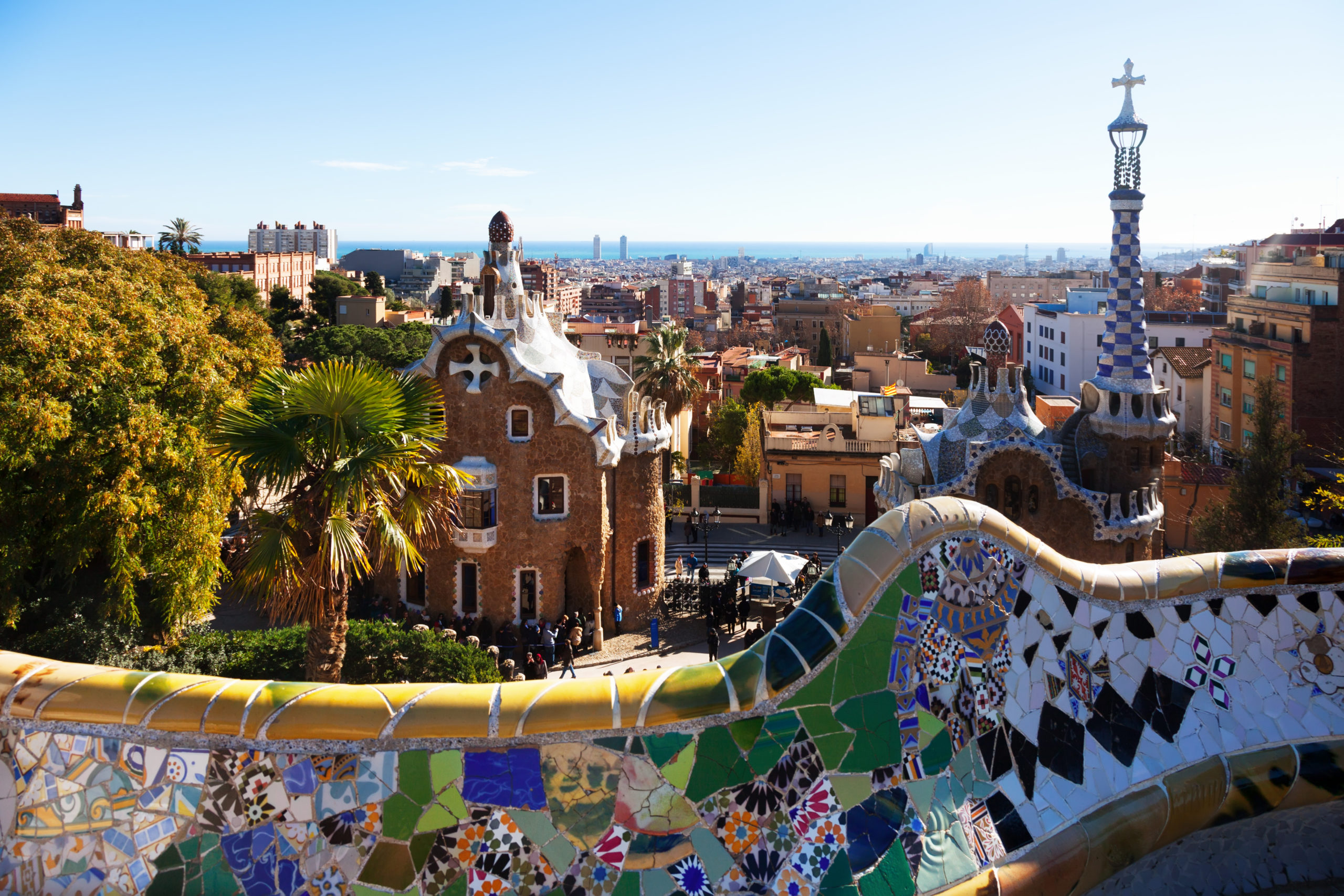 View of Park Guell in winter. Barcelona
