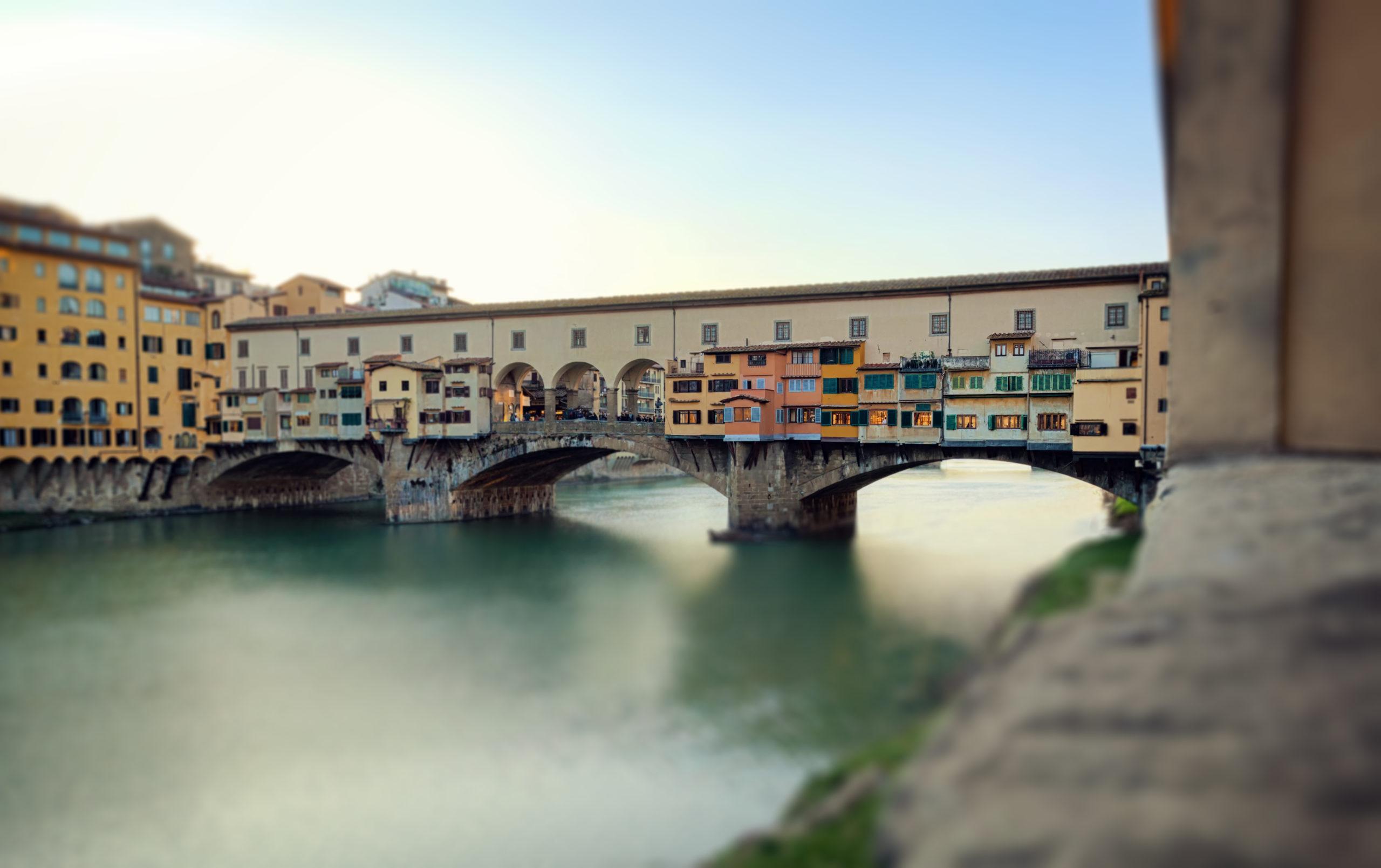 Bridge Ponte Vecchio at sunset, Florence. Miniature effect.